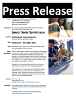 Junior Solar Sprint Race Press Release