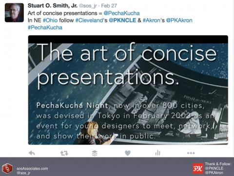 I'd like to challenge you to take two PechaKucha-related action steps. First, share the PK story by telling your friends and sharing on social media. And, second, help identify future speakers.