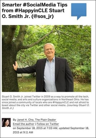 "Janet Cho's article ""Smarter #SocialMedia Tips from #HappyinCLE Stuart O. Smith Jr. (@sos_jr)"""