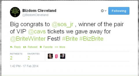 Big congrats to @sos_jr , winner of the pair of VIP @cavs tickets we gave away for @BriteWinter Fest! #Brite #BizBrite