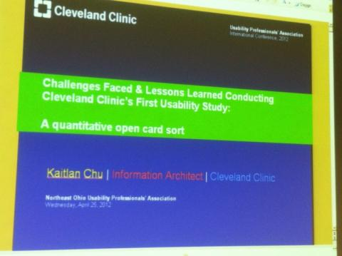 Cleveland Clinic's First Usability Study NEOUPA Meeting with Kaitlan Chu