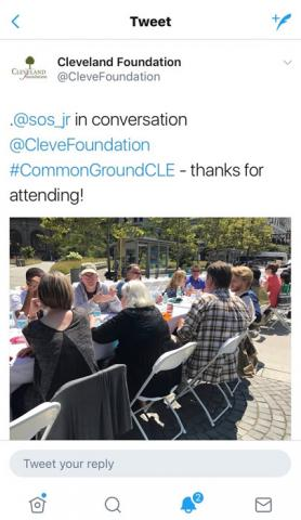 Cleveland Foundation tweet about my attending Common Ground.