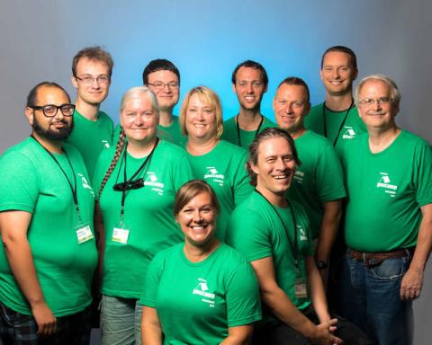 """Green Shirts"" - Cleveland GiveCamp Steering Committee and Team Y,  the Tech Floaters Team"