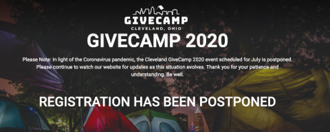 """Cleveland GiveCamp 2020 event scheduled for July is postponed"""