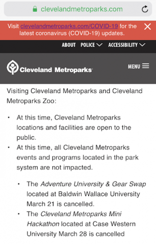 March 12, 2020, 6:40 am screenshot of the top of ClevelandMetroparks.com website and first COVID-19 announcement