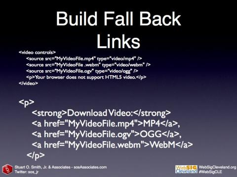 Fall-back links for browsers that don't support HTML5 Video