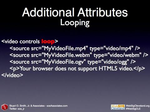 Loop HTML5 Video code sample
