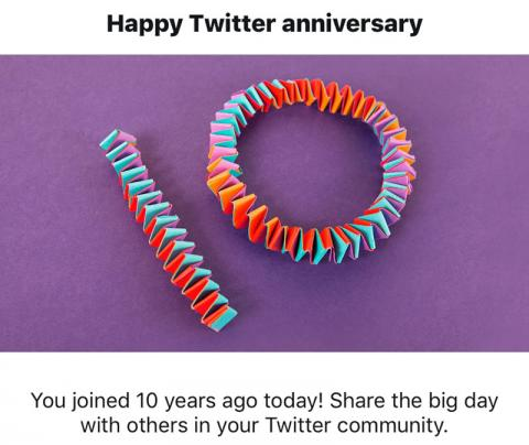 "Twitter says: ""Happy 10th Twitter Anniversary!"""