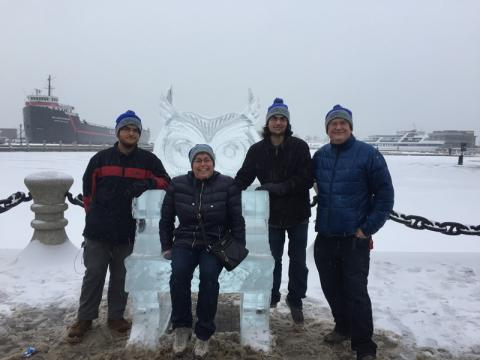 Keeping warm with the North Coast Harbor hats we won at the Ice Fest 2018 scavenger hunt!