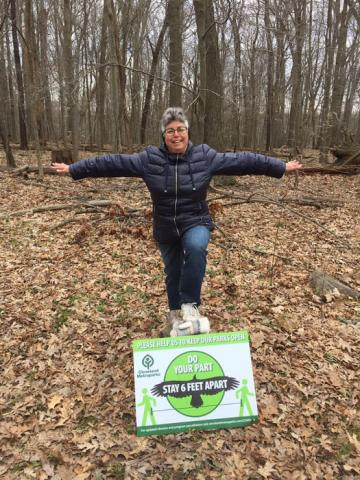 "Julie demonstrates -- ""Do your part! Stay 6 feet apart! Please help us to keep our parks open!"""