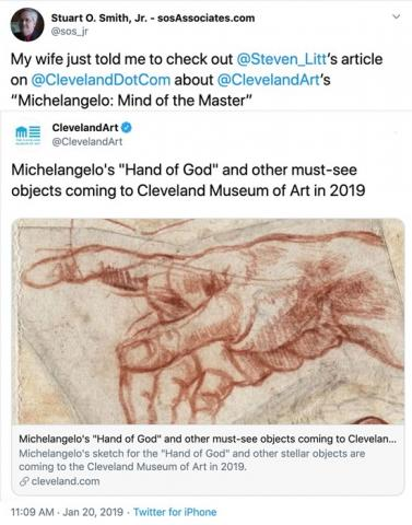 "I learned from Steven Litt about Michelangelo's ""Hand of God"" coming to Cleveland!"