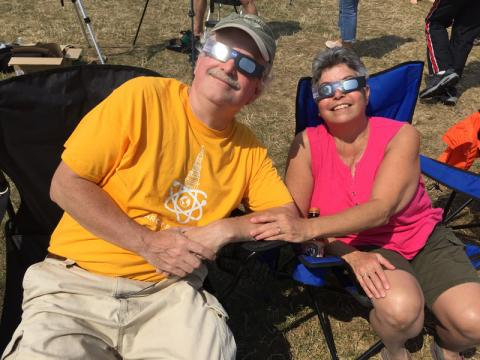 Stuart and Julie enjoying the eclipse watch party