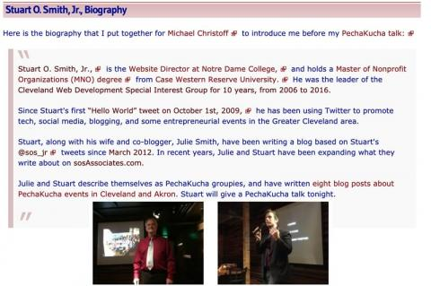 "Stuart's bio from ""A PechaKucha Talk by Stuart O. Smith, Jr., about PechaKucha Night Cleveland"""