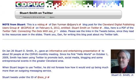 "Cleveland Digital Publishing Users Group blog post ""Stuart Smith on Twitter"""