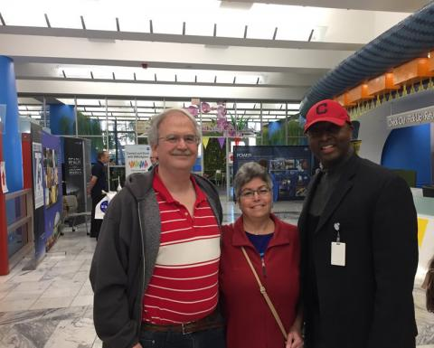 Stuart & Julie greeted by Cleveland Public Library CEO Felton Thomas, Jr.