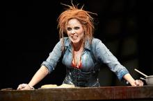 "Sara M. Bruner (as Mrs. Lovett) stars in the Great Lakes Theater production of ""Sweeney Todd"""