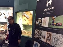 Bill Hsiung at Hedgemon booth at Cleveland Museum of Natural History's Think & Drink with the Extinct: Biomimicry!