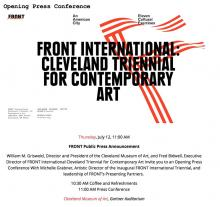Invitation: FRONT International Cleveland Triennial for Contemporary Art Opening Press Conference
