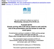 "Invitation to the Cleveland Museum of Art's ""Exclusive Event"""