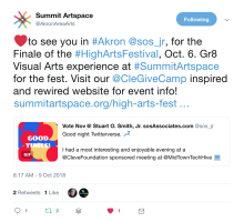 Twitter invite to High Arts Festival Akron 2018