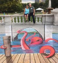 Julie and Stuart enjoying 3-D art at the Cleveland Museum of Art's 30th Annual Chalk Festival