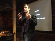 Michael Christoff introduces Stuart at PechaKucha Night Cleveland Past Presenters Happy Hour